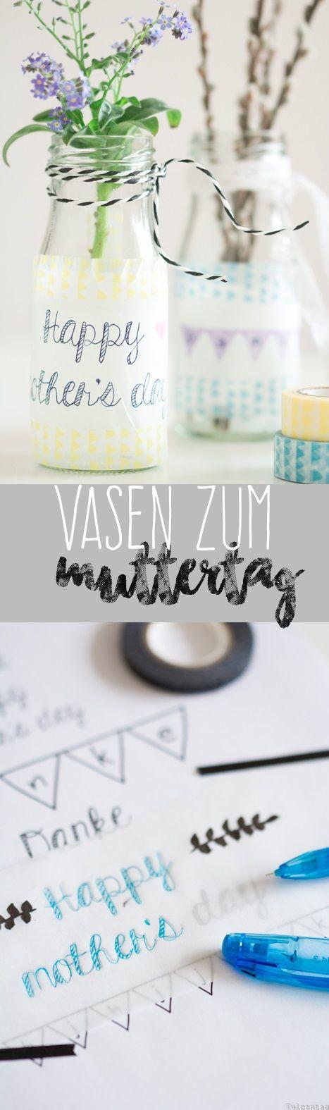 DIY Muttertag Geschenk Bumen Vase Lettering