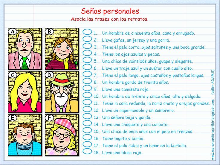 (ACTIVITY) - Match the descriptive sentences to each picture. For full activity pages see http://me-encanta-escribir.blogspot.com/2014/08/descripcion-de-retratos.html