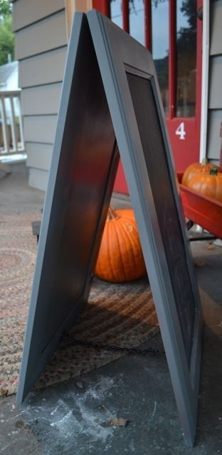 Cool double-sided chalkboard sign to make (from 2 old cabinet doors) to set outside with daily/weekly specials