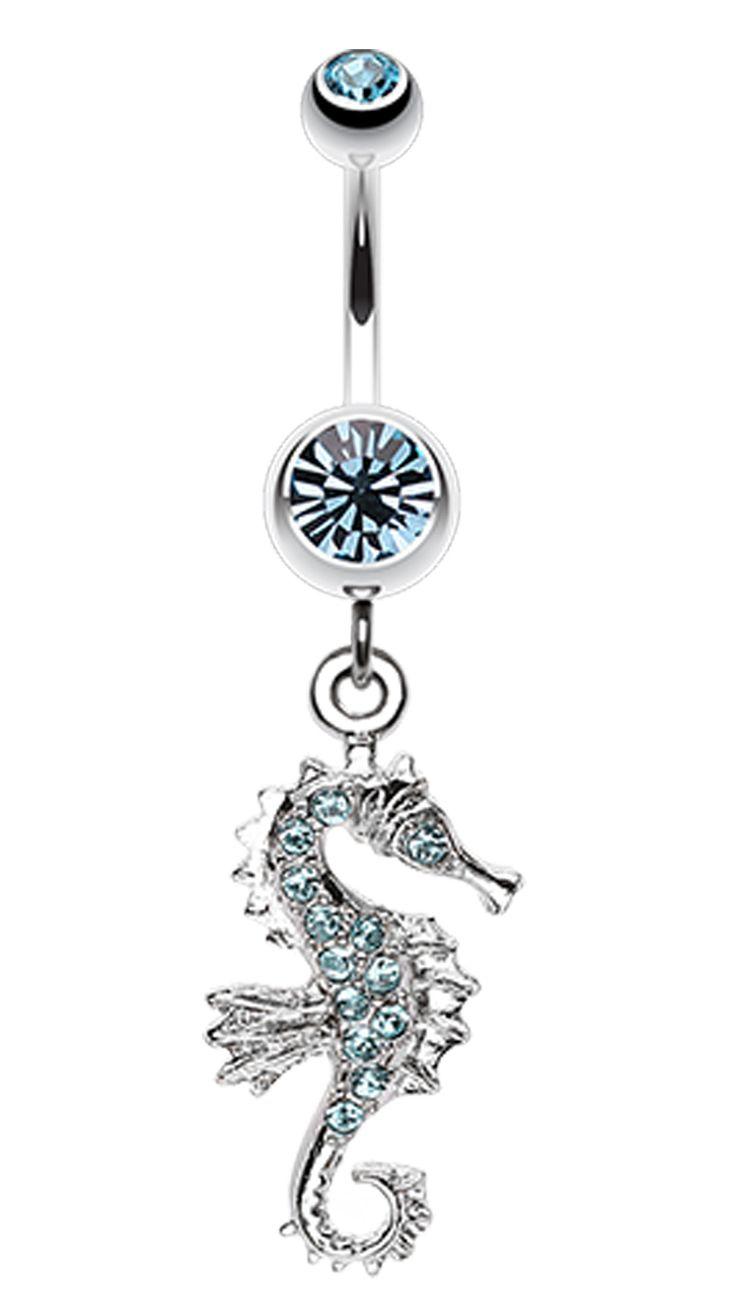 Sparkling Seahorse Dangle Belly Button Ring