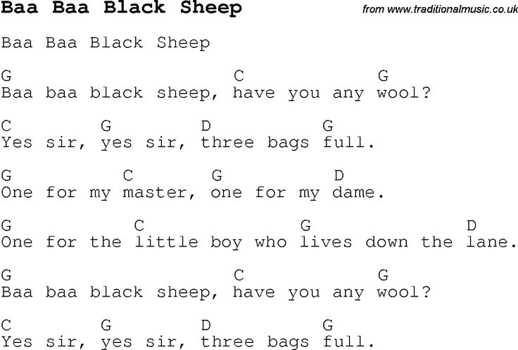 Childrens Songs and Nursery Rhymes, lyrics with chords for guitar, banjo etc for song baa-baa-black-sheep
