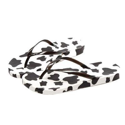 SPLENDID Women's Summer Cow-Color Leisure Flip Flops White or Black