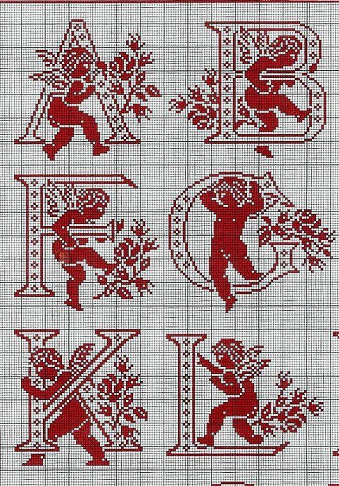 ange - angel - alphabet - point de croix - cross stitch - Blog : http://broderiemimie44.canalblog.com/