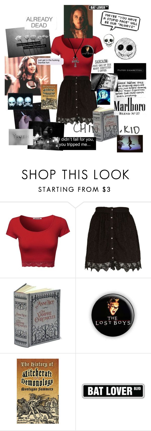 """Fetus Me/Age 8-9"" by pyrokittenkat ❤ liked on Polyvore featuring River Island, The Damned, Retrò, C.R.A.F.T. and Love Quotes Scarves"