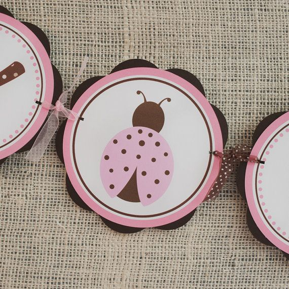 Ladybug Party Supplies HAPPY BIRTHDAY Banner, Birthday Party Decoration Pink and Brown Ladybug Banner