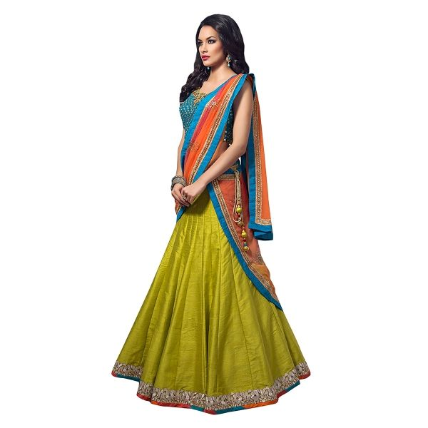 Buy Olive Color Bhagalpuri With Embroidery & Border Work Semi-Stitched Lehenga Choli Online at cheap prices from Shopkio.com: India`s best online shoping site