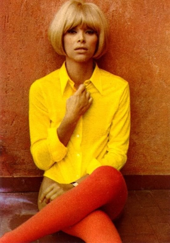 French actress Mireille Darc #MD-chemiseJaune