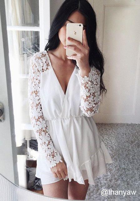 Witte korte jumpsuit Lookbookstore