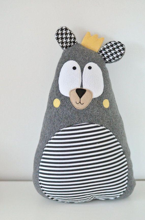 Teddy bear, Gift idea, crown, softie, soft, plush, toy for boy and girl, custom made, personalized, grey, teddy, bear, handmade, stars