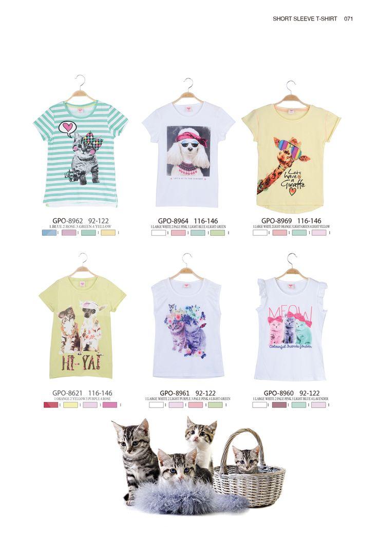 Cute cat and dog T-shirts for girls  #glostory #fashion #forgirls #ss15 #cute #clothing #fashion #dress #tshirt #animaltshirt