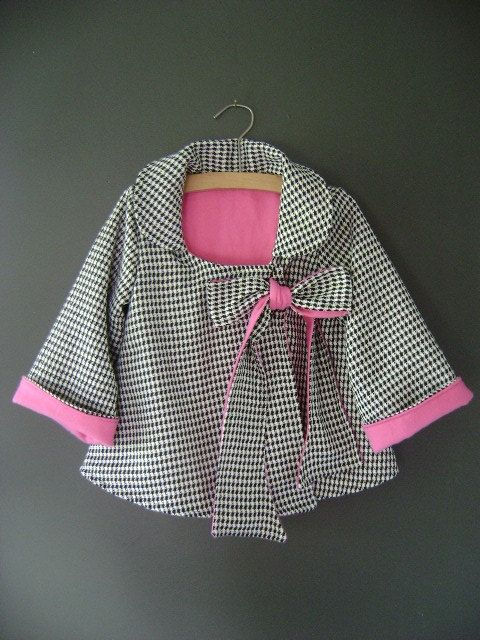 Reserved  Girl's Swing Coat with Bow in Black and White by oKIDDo, $42.50
