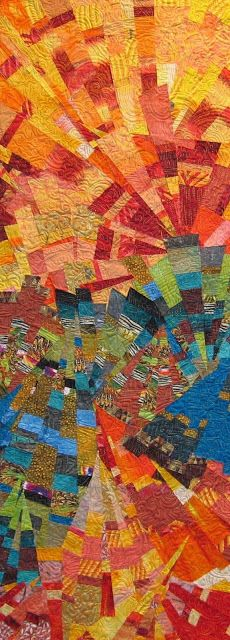 "julie schluter sew slash sew quilts""Sun Kissed San Bernardino Mountains"" http://fiberdose.blogspot.co.nz/p/sewn-slashed-and-sewn-quilts.html"