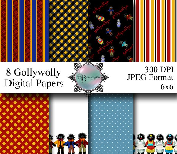 Golliwog (Gollywolly) Digital Pattern Papers. These cute little gollys are part of my collection that I created. These are included in the designer papers with lots of color and patterns.