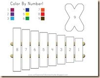 letter X for Xylophone color-by-number preschool free printable.