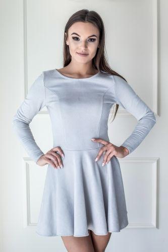 Rozkloszowana zamszowa sukienka Szara