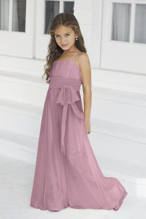 Charmeuse Bow,Ruching,Straps Style 42 Junior Bridesmaid Dress by Alexia Designs