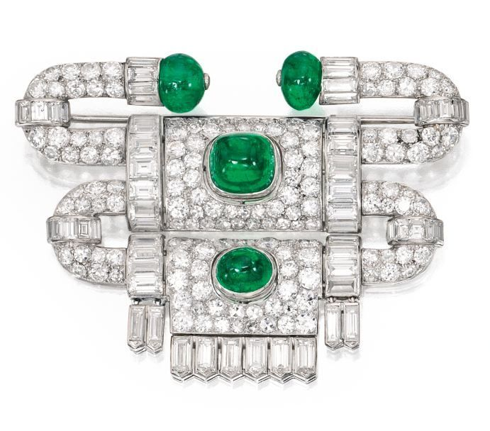 Lot 396 - Platinum, Emerald and Diamond Brooch, Van Cleef & Arpels, France, 1927