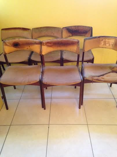 Before - we paid next to nothing for these chairs and a table which had a little bit of fire damage