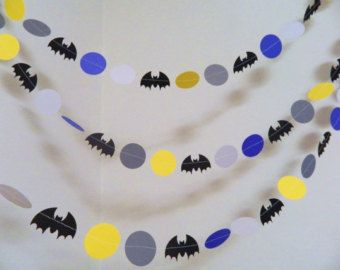 Batman Garland- Paper Garland- Batman Birthday Decoration- Batman Themed Party Decor-10 foot Garland-Boys Room Decor