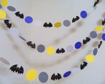 Batman Garland- Paper Garland- Batman Birthday Decoration- Batman Themed Party Decor-10 foot Garland-Boys Room Decor