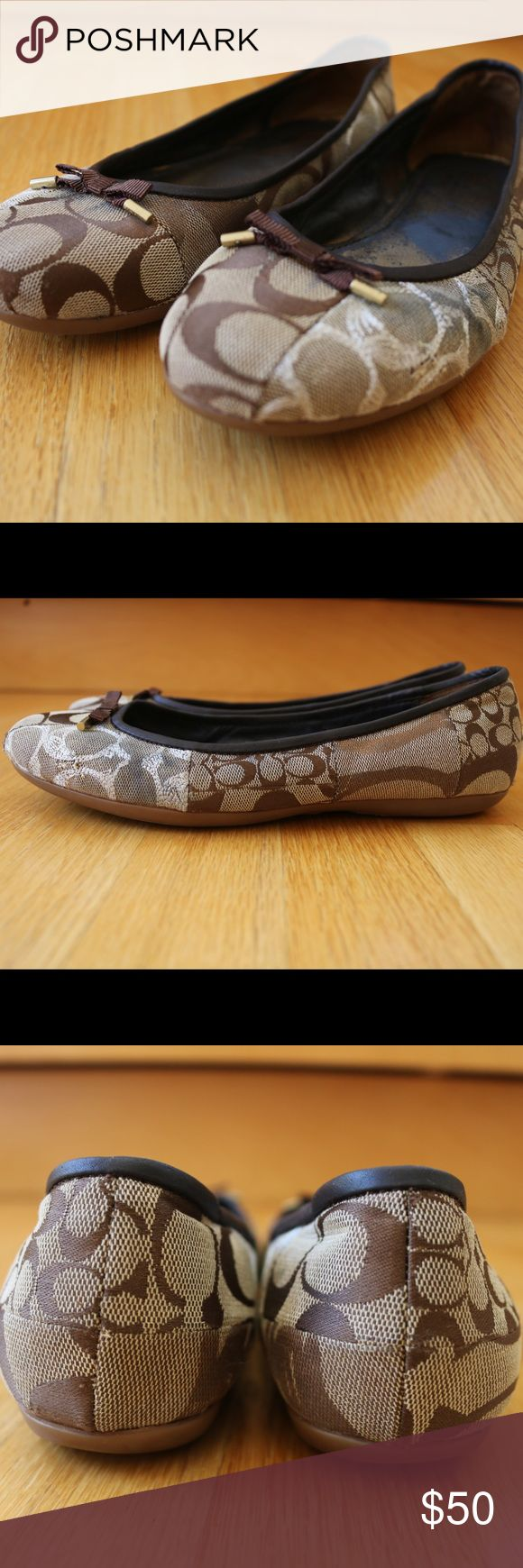 Coach flats Comfy brown Coach logo flats. Worn but I n good condition and definitely worthy of another home! Coach Shoes Flats & Loafers