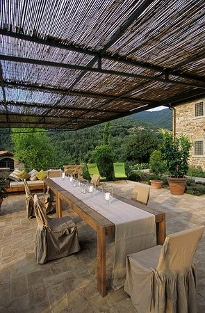 A large loggia with a simple overhead shade. Italy - Tuscany''  - Chianty area