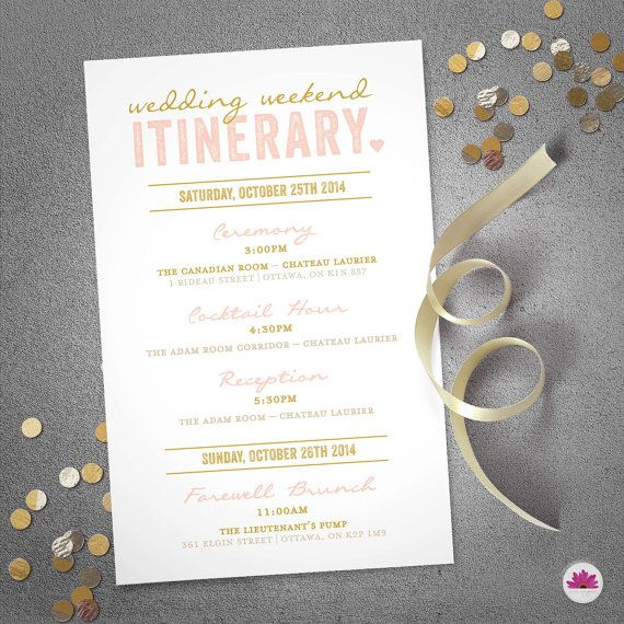 Wedding Weekend Itinerary  Wedding Day Timeline by EventswithGrace