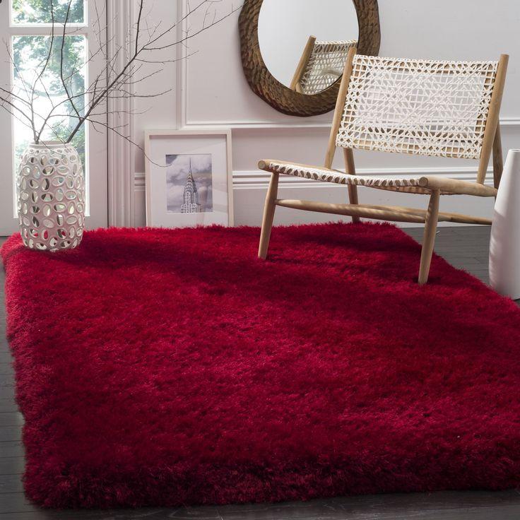 Safavieh Handmade Luxe Shag Super Plush Red Polyester Rug (6' Square) (SGX160E-6SQ), Size 6'