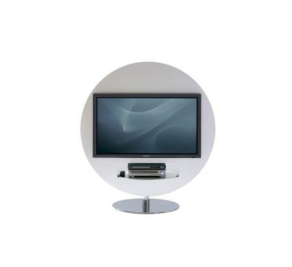 Vision, di Bonaldo, è un portaTV progettato da Gino Carollo e appartiene ai prodotti dedicati ai modelli di vita contemporanei, in cui la tecnologia svolge un ruolo decisamente rilevante.  Vision è un portatelevisore caratterizzato dalla forma tonda e da vani laterali porta DVD. La struttura è disponibile in laccato argento opaco, oppure in laccato lucido bianco o nero nella parte anteriore. La base, girevole a 360°, è in acciaio cromato. INFOBase cromataPortata massima 50 kgDimensioni TV…