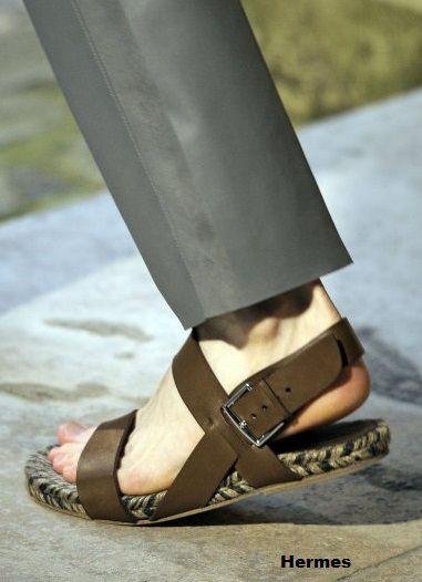 Hermes sandalia de piel para hombre
