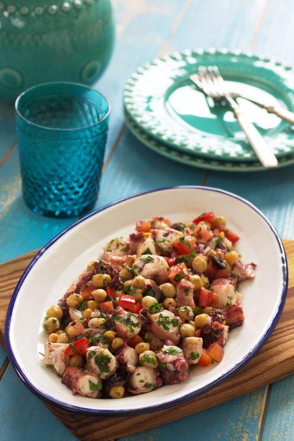 Salada de polvo com grão - Cinco Quartos de Laranja