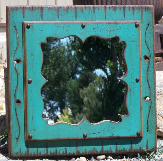 Wood western decorative mirror Wood framed by WorkHorseFurniture, $166.00