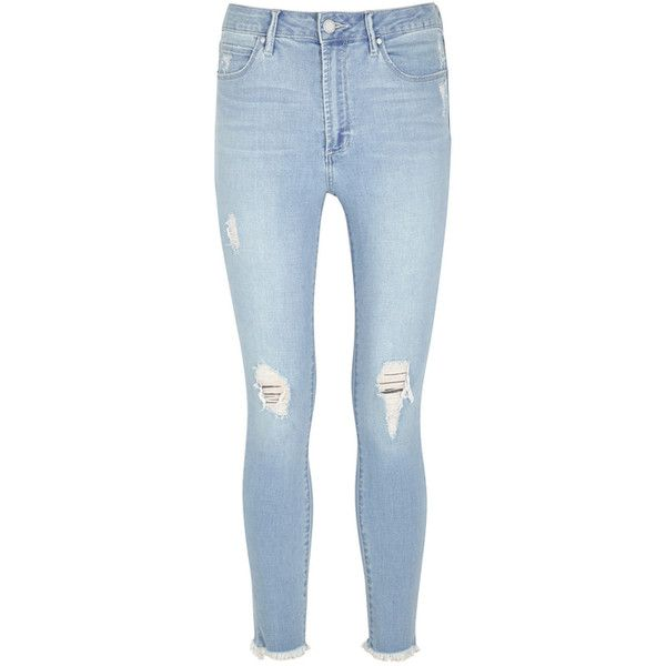 Articles Of Society Heather Light Blue Cropped Skinny Jeans ($150) ❤ liked on Polyvore featuring jeans, super high-waisted skinny jeans, light blue ripped jeans, high-waisted skinny jeans, light blue skinny jeans and light blue jeans