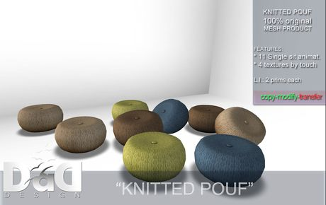 "Second Life Marketplace - ""Knitted Pouf"" C/M - 1 L Gift!"
