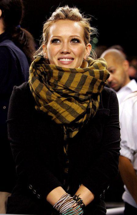 Hillary Duff - striped scarf.