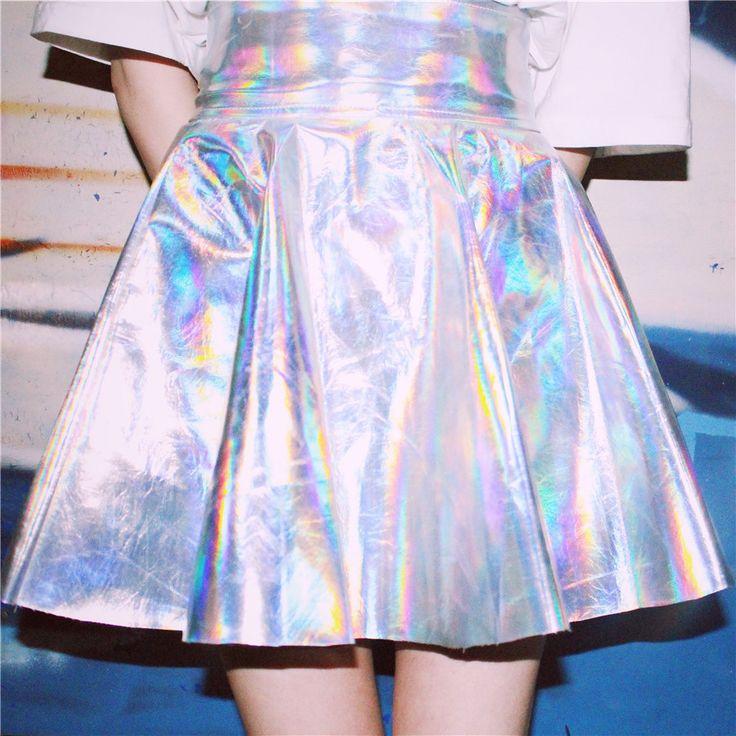 スカート - 原宿系 青文字系 ZIPPER ギラギラと輝くホログラム生地で作られたスカートダンス 衣装