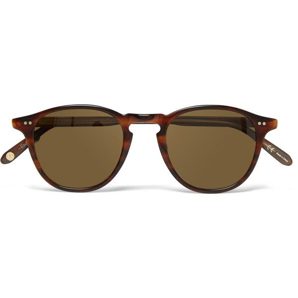 Garrett Leight California Optical Hampton Round-Frame Tortoiseshell... (370 CAD) ❤ liked on Polyvore featuring mens, men's accessories, men's eyewear, men's sunglasses and brown