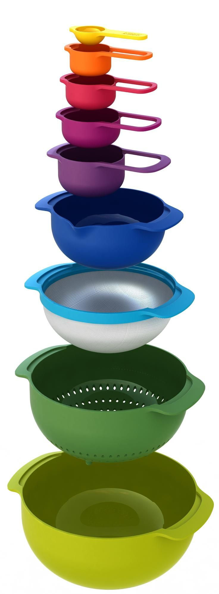 Joseph Joseph's Nest™ line is the ultimate collection of practical, space-saving kitchenware comprising a unique range of food preparation sets.  The Nest™ 9 includes:     5 x measuring cups  1 x small non-slip mixing bowl with measurements  1 x stainless-steel mesh sieve  1 x colander/strainer  1 x large non-slip mixing bowl