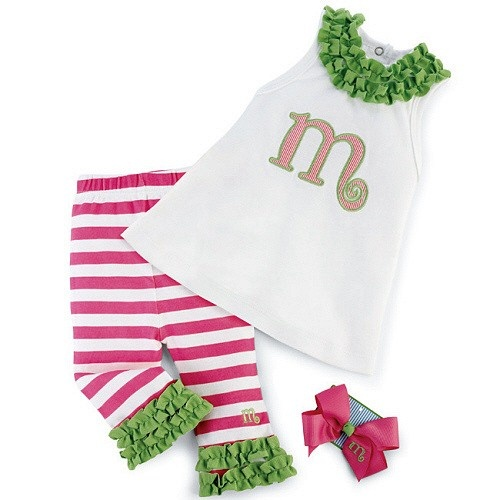 Personalized Initial 3 Piece Girls Outfit by Mud Pie