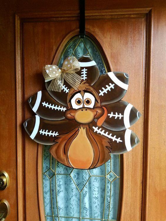 Turkey Door Hanger Burlap Door Hangers Wooden Door