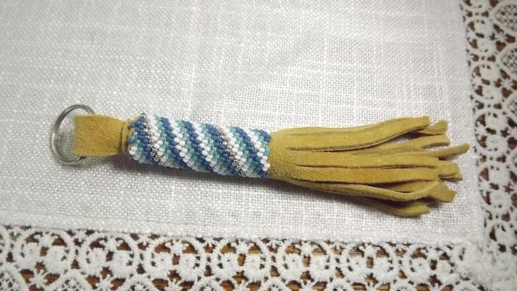 Vintage OOAK First Nations Seed Bead and Leather Tassel Key Chain, New Old Stock Keychain by OutrageousVintagious on Etsy