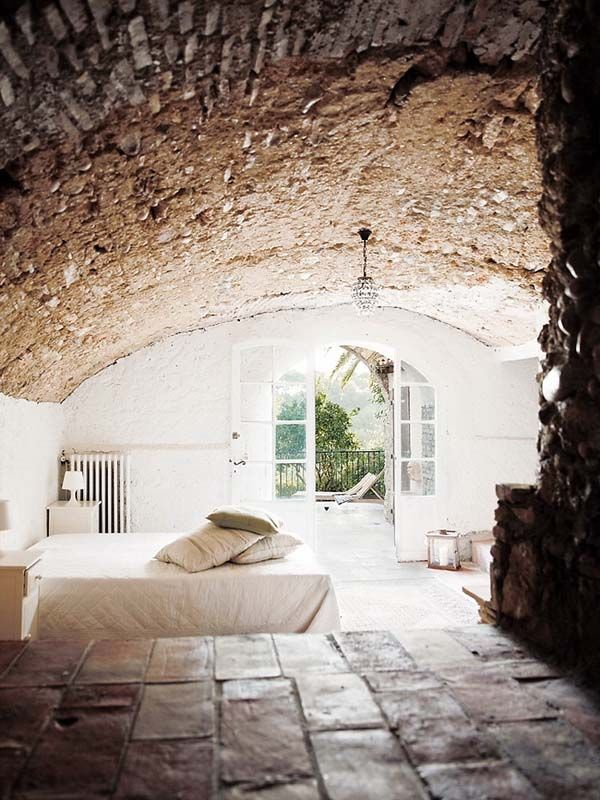 French villa bedroom - what a beautiful angle to photograph this rustic bedroom