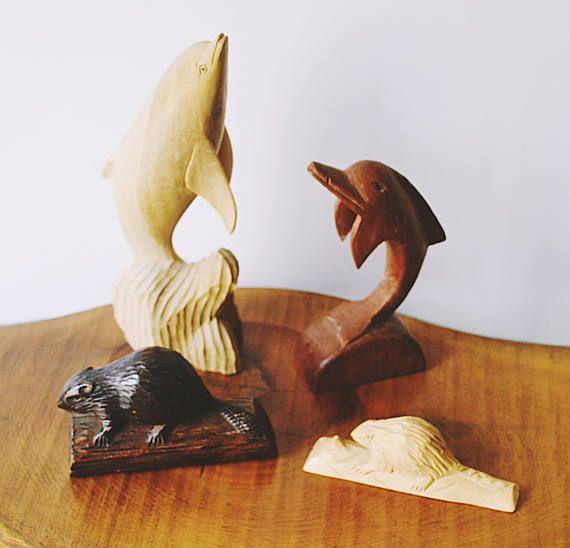 Vintage Wood Carvings Wood Animal Carvings Dolphin Carvings