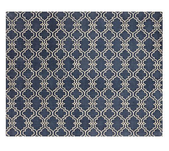 Scroll Tile Wool Rug Indigo Blue Room Rugs Rugs Rugs