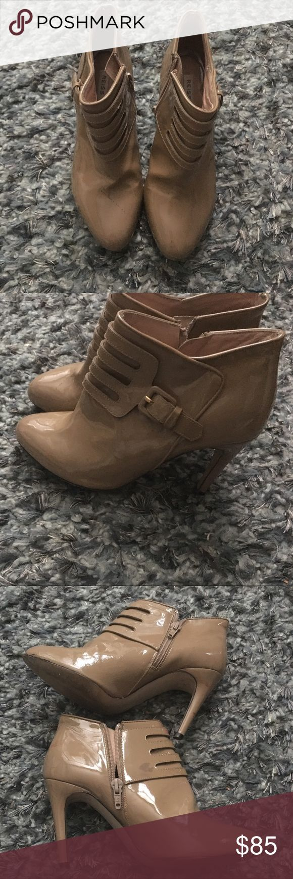 Reiss patent boots Tan  patent boots Reiss Shoes Heeled Boots