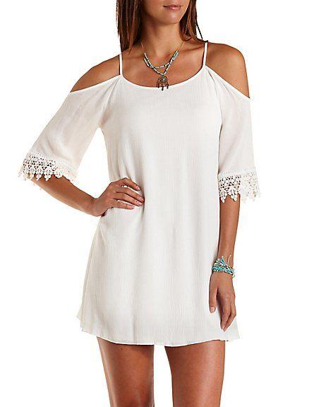 Strappy Cold Shoulder Shift Dress:#white #dress #spring