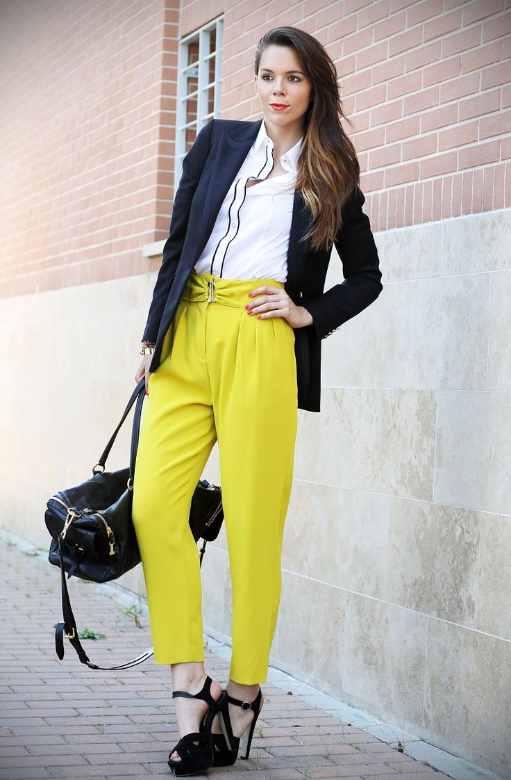 Ides for fashion week looks!!  --  #streetstyle #milano #fw #fashionweek #pants #jacket #yellow #mustard #black #sandals #manstyle #girl #legs #nice #style #details www.ireneccloset.com