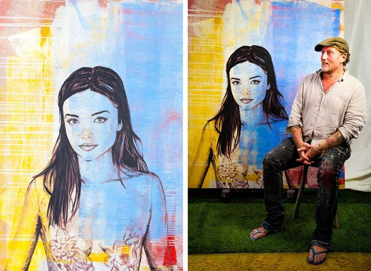 David Bromley with portrait of Miranda Kerr