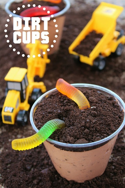 DIRT CUPS :) You could also make sand cups instead by substituting the chocolate pudding for vanilla pudding and the Oreos for Vanilla Wafers. Either way, theyre sure to be a hoot! Enjoy.