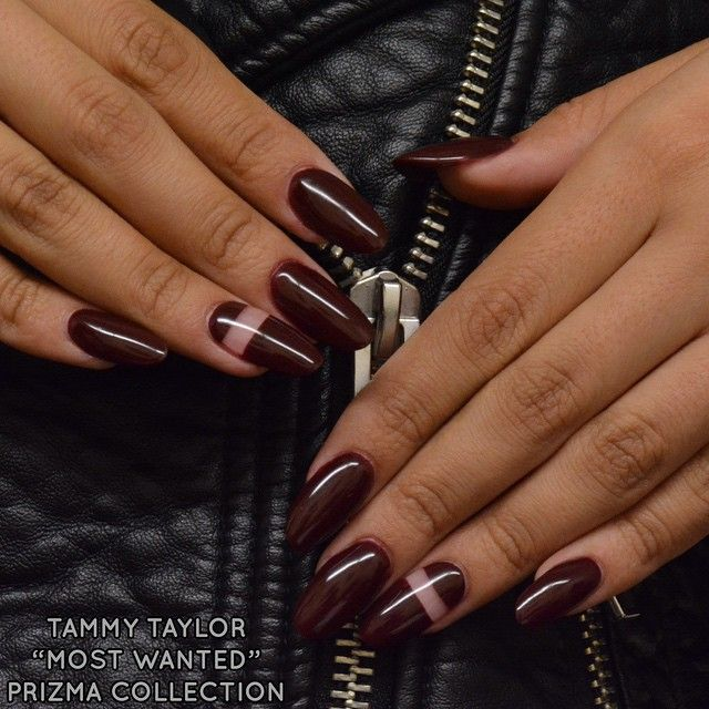 "Red Alert Prizma from the Tammy Taylor ""Most Wanted"" Collection! Negative space accent nails made with Tammy Taylor Clear Powder and Tammy Taylor Top Gel Plus for shine!"